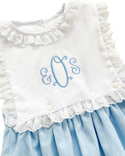 Load image into Gallery viewer, Blue Linen Gracie Dress with Lace Trim