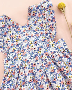 Blue and Pink Floral Penny Dress