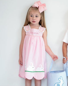 Bunny and Carrots Applique Pink Gingham Dress
