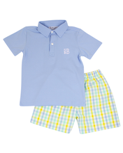 Load image into Gallery viewer, Mint Blue and Yellow Checked Shorts Set with Polo Shirt