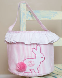 Bunny Applique Pink Seersucker Easter Basket