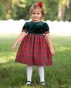 Red Tartan Plaid and Green Velvet Party Dress
