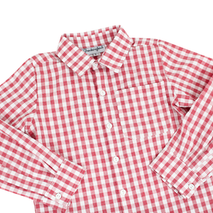 Red Check Collared Shirt