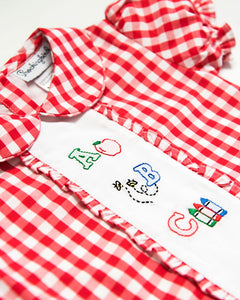 Alphabet Shadow Embroidered Red Check Dress
