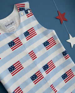 American Flag Blue Striped Shortall