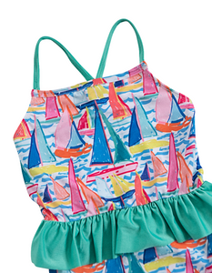 Sailing Soiree One Piece with Ruffle