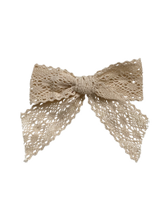 Vintage Lace Hair Bow in Ivory