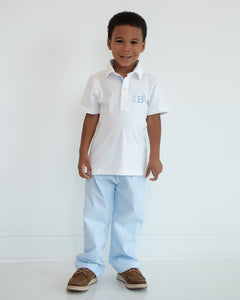 Blue Gingham Pants Set with Polo Shirt