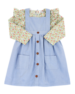 Blue Corduroy Jumper With Wildflower Print Blouse