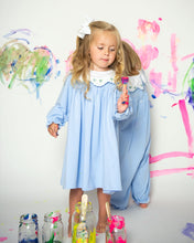 Load image into Gallery viewer, Blue Knit Embroidered Collar Dress