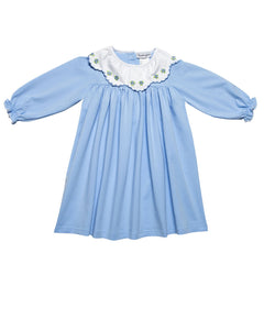 Blue Knit Embroidered Collar Dress