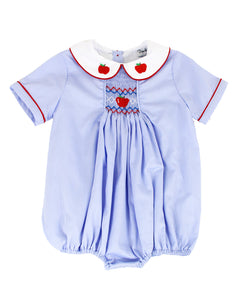Apples Smocked Blue Bubble for Boy