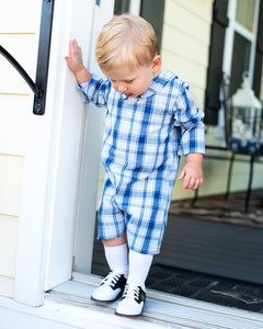 Navy and Blue Plaid Collins Shortall