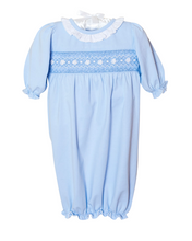 Load image into Gallery viewer, Smocked Baby Gown For Girl in Pale Blue Knit