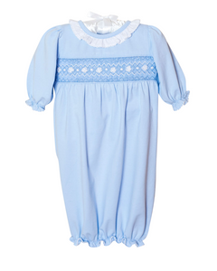 Smocked Baby Gown For Girl in Pale Blue Knit