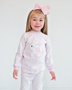 Bunny Applique Pink Striped Loungewear