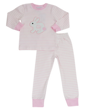 Load image into Gallery viewer, Bunny Applique Pink Striped Loungewear