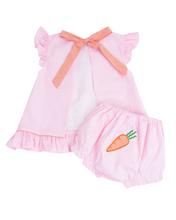 Load image into Gallery viewer, Bunny and Carrots Applique Pink Gingham Bloomer Set