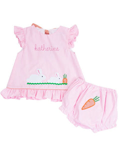 Bunny and Carrots Applique Pink Gingham Bloomer Set