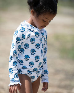 India Amory x Smockingbird Smocked Swimsuit in Cornflower Blue