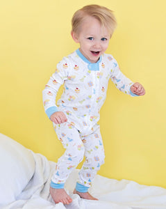 Party Time Pima Zip Up Pajamas with Blue Trim