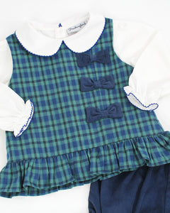 Campbell Plaid Bow Bloomer Set With White Knit Blouse