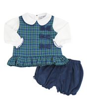 Load image into Gallery viewer, Campbell Plaid Bow Bloomer Set With White Knit Blouse