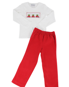 Christmas Trees in Trucks Smocked Red Corduroy Pants Set