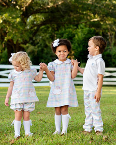 Rainbow Plaid Bloomer Set with Bunny Pockets