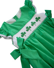 Load image into Gallery viewer, Shamrocks Smocked Green Bubble for Girl