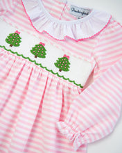 Load image into Gallery viewer, Christmas Tree Smocked Striped Knit Dress