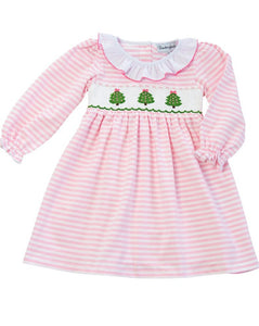 Christmas Tree Smocked Striped Knit Dress
