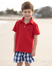 Load image into Gallery viewer, Classic Navy and Red Check Shorts Set