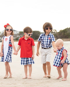 Classic Navy and Red Check Shorts Set