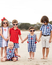 Load image into Gallery viewer, Classic Navy and Red Check Shortall