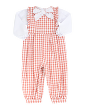 Load image into Gallery viewer, Coral Check Romper With Bow Blouse