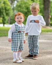 Load image into Gallery viewer, Dogs Smocked Cadet Blue Check Pants Set