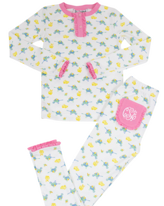 Eggs in a Wheelbarrow Pima Cotton Two Piece Pajama Set with Pink Trim