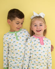Load image into Gallery viewer, Eggs in a Wheelbarrow Pima Cotton Two Piece Pajama Set with Pink Trim