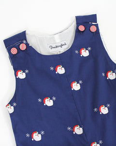 Embroidered Santa Navy Longall