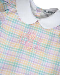 Rainbow Plaid Jumper with Bunny Pockets