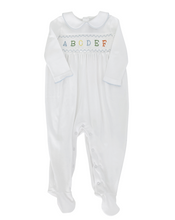 Load image into Gallery viewer, Smocked ABC Pima Cotton Layette with Blue Trim