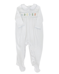 Smocked ABC Pima Cotton Layette with Blue Trim