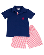 Load image into Gallery viewer, Red Windowpane Shorts Set with Navy Shirt