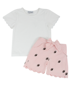 Football Embroidered Pink Shorts Set