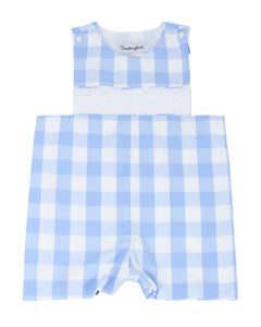 Personalized Baby Blue Buffalo Check Shortall