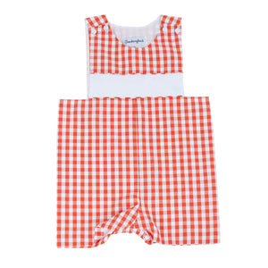 Personalized Orange Gingham Shortall