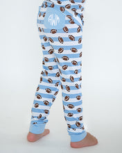 Load image into Gallery viewer, Football Blue Striped Pajama Set