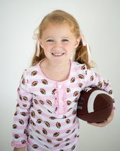 Load image into Gallery viewer, Football Pink Striped Pajama Set