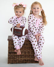 Load image into Gallery viewer, Football Pink Striped Zip Up Pajamas